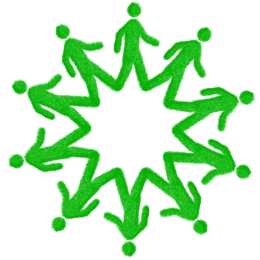 Green men in circle
